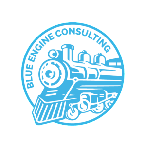 Blue Engine logo - white background